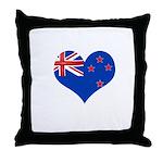 New Zealand Flag Heart Throw Pillow