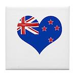 New Zealand Flag Heart Tile Coaster