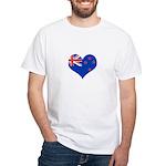 New Zealand Flag Heart White T-Shirt