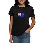 New Zealand Flag Heart Women's Dark T-Shirt