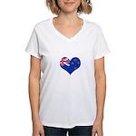 New Zealand Flag Heart Women's V-Neck T-Shirt