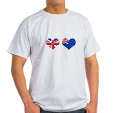 Brit Kiwi Flag Hearts T-Shirt