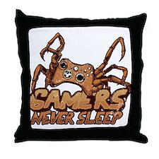 Gamers never sleep Throw Pillow