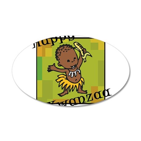 Happy Kwanzaa little Boy dancing with corn.png Wall Decal