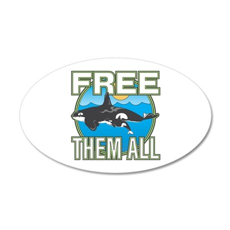 Free Them All(Whales) 35x21 Oval Wall Decal