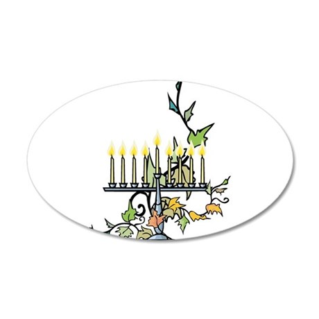 ivy wrapped around Chanuka Menorah.png Wall Decal
