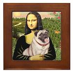 Mona's Fawn Pug (#2) Framed Tile