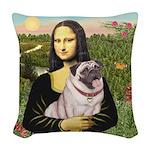 Mona's Fawn Pug (#2) Woven Throw Pillow