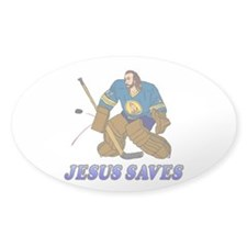 Jesus Saves (Hockey Goalie) Oval Decal