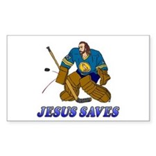 Jesus Saves (Hockey Goalie) Rectangle Decal