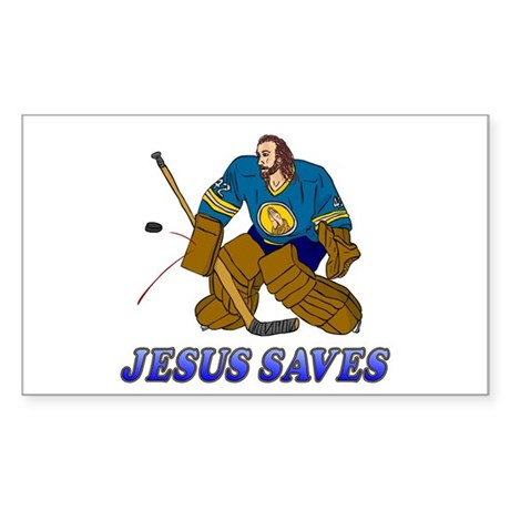 Jesus Saves (Hockey Goalie) Rectangle Sticker