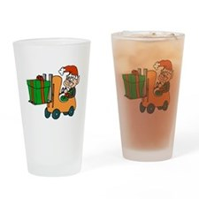 elf with package on forklift.png Drinking Glass