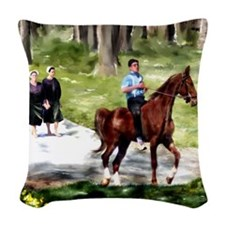 Amish Boy and Girls Woven Throw Pillow