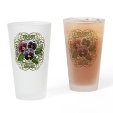 purple pansy bouquet Drinking Glass