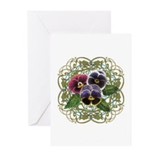 purple pansy bouquet Greeting Cards