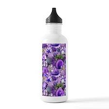Purple Seashells and Starfish Water Bottle