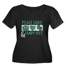Peace Love Sandy Feet Green Plus Size T-Shirt