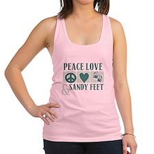 Peace Love Sandy Feet Green Racerback Tank Top