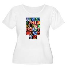 Neon Sign Alphabet Plus Size T-Shirt