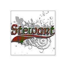 """Stewart Tartan Grunge Square Sticker 3"""" x 3"""""""
