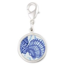 Blue Shells Silver Round Charm
