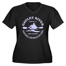 Gauley River Women's Plus Size V-Neck Dark T-Shirt