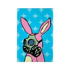 Pink Bunny Gas Mask Rectangle Magnet
