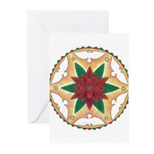 Poinsettia Peace Mandala Greeting Cards