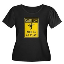 Caution Adults at Play Plus Size T-Shirt