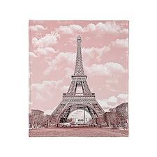 Eiffel Tower in pink Throw Blanket