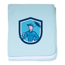 Chimney Sweep Worker Shield Cartoon baby blanket
