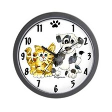 Puppy Love Kitten Wall Clock