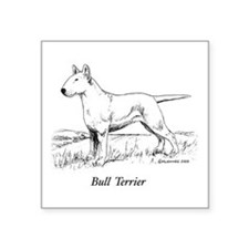 "White Bull Terrier Square Sticker 3"" x 3"""