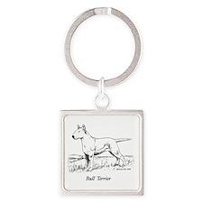 White Bull Terrier Square Keychain