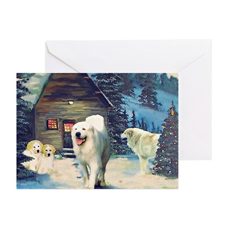 Great Pyrenees Cards, pk of 10, Winter Cottage