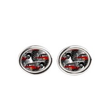 RED MONSTER TRUCK Oval Cufflinks