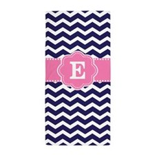 Navy Pink Chevron Monogram Beach Towel
