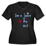 Due in January Boy Women's Plus Size V-Neck Dark T