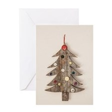 Christmas Tree Buttons Greeting Cards