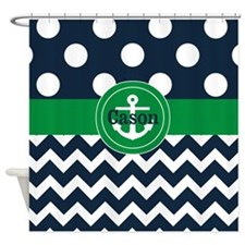 Blue Green Dots Chevron Personalized Shower Curtai