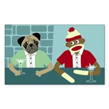 Pug Dog & Sock Monkey Rectangle Decal