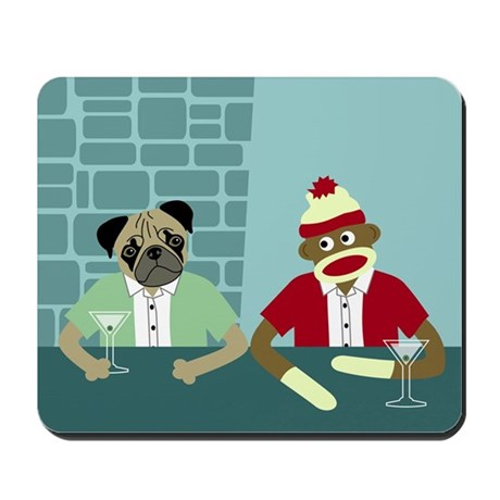 Pug Dog & Sock Monkey Mousepad