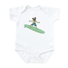 Pug Dog Longboard Surfer Infant Bodysuit