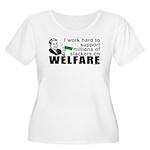 I Work Hard Women's Plus Size Scoop Neck T-Shirt