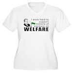 I Work Hard Women's Plus Size V-Neck T-Shirt