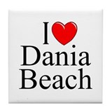 """I Love Dania Beach"" Tile Coaster"