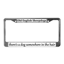 Hairy Old English Sheepdog License Plate Frame
