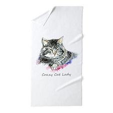 Crazy Cat Lady Fun Quote Beach Towel