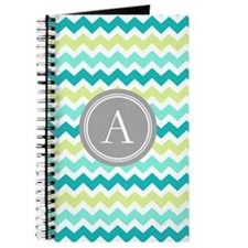 Teal Lime Chevron Monogram Journal
