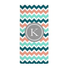 Teal Coral Chevron Monogram Beach Towel